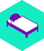 pictogramme lit avec drap et couette